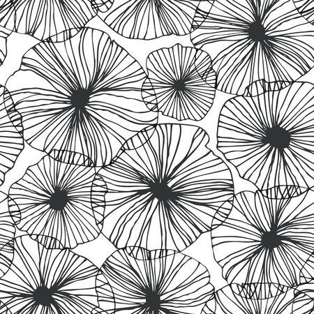 Decoratief abstract bloemenpatroon. Vector lineaire textuur. Naadloze grafische achtergrond