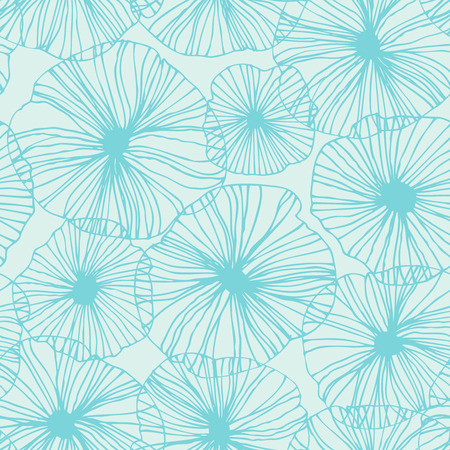 Decorative abstract floral pattern. Vector linear texture. Seamless turquoise background