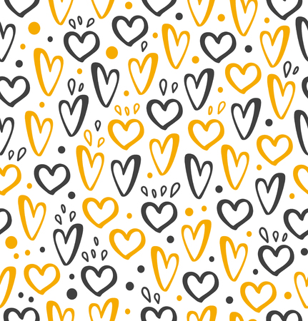 Golden and black hearts on seamless background. Stylish texture for wrapping paper, wallpaper, cover