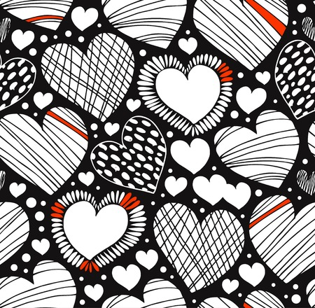 Love ornamental pattern with drawn hearts. Seamless black and white background. Graphic fabric texture with many romantic details