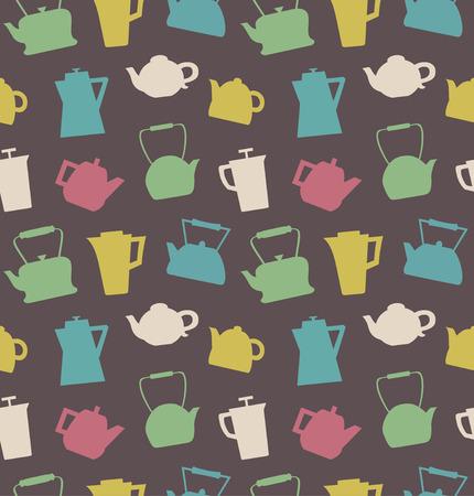 Patroon met verschillende theepotten. Waterkokersachtergrond. Naadloze keuken vector textuur