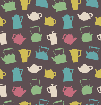 Pattern with different teapots. Kettles background. Seamless kitchen vector texture Illustration