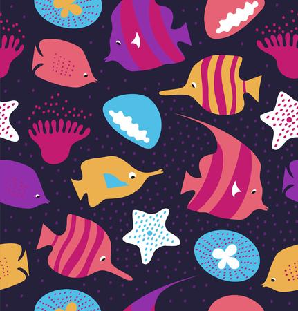 Naadloze kleurrijke achtergrond met schattige vissen, kwallen. Mariene vectortextuur, patroon met overzeese schepselen