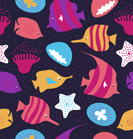 Seamless colorful background with cute fishes, jellyfishes. Marine vector texture, pattern with sea creatures