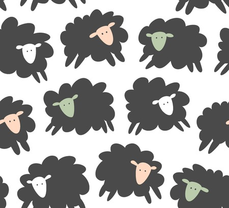 Seamless vector pattern with sheep, ewe. Decorative childish texture, cute background Illustration