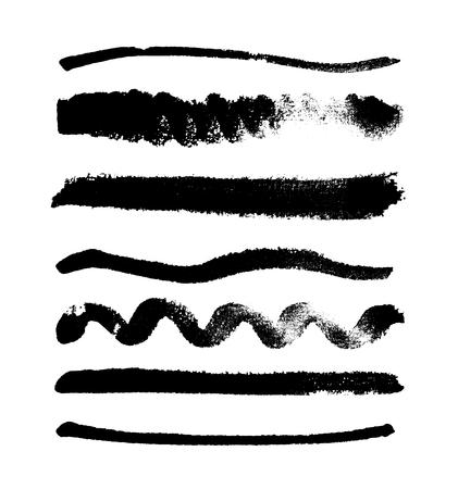 Waterverfvlekken inzameling op witte achtergrond wordt geïsoleerd die. Reeks zwarte waterverfvormen, hand getrokken vectortextuur