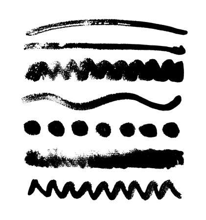 Watercolor blobs collection isolated on white background. Set of black watercolor shapes, handdrawn vector texture