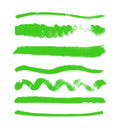 Waterverfvlekken inzameling op witte achtergrond wordt geïsoleerd die. Reeks groene gekleurde waterverfvormen, hand getrokken vectortextuur