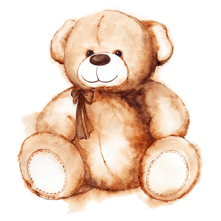 child drawing: Cartoon lovely Teddy Bear toy Saint Valentines day isolated.