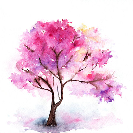 tree illustration: Watercolor single pink cherry sakura tree isolated. Stock Photo