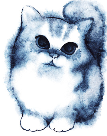 eye drawing: Watercolor little navy blue white fluffy cartoon kitten