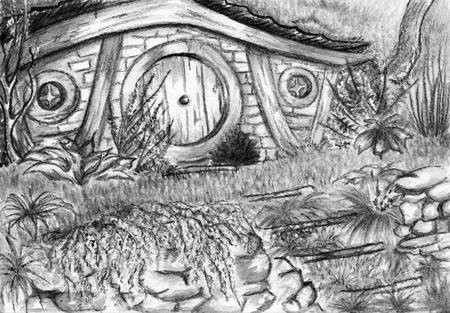 shire: Watercolor monochrome black and white hobbits home.