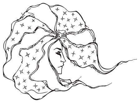 astrologer: Monochrome black and white astrologer wizard man vector line art