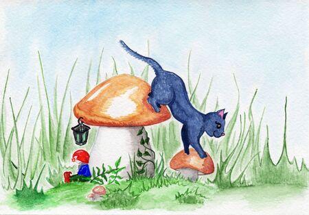 glade: Glade cat dwarf and mushroom magic fantasy landscape.