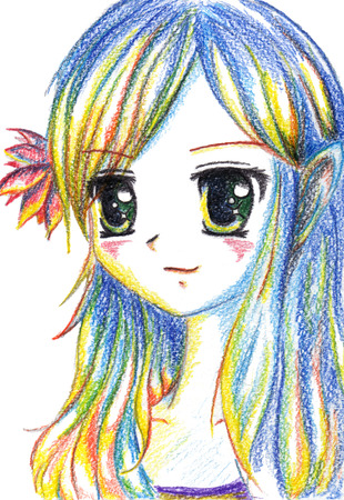 blue eyes: Colorful anime manga kawaii cartoon girl with flower in hair.