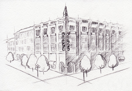 building sketch: Monochrome scheme drawing building isolated ink sketch. Stock Photo