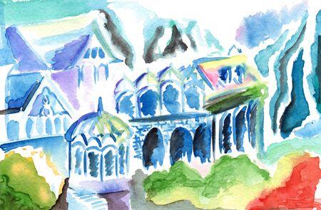 elven: Fantasy abstract colorful elven kingdom town buildings.