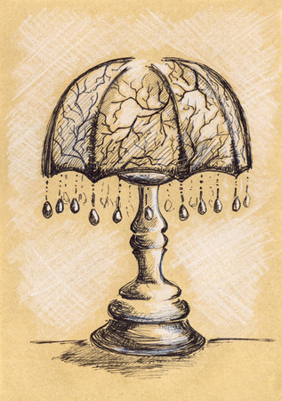 pendant lamp: Vintage lamp with suspensions ink craft sketch.