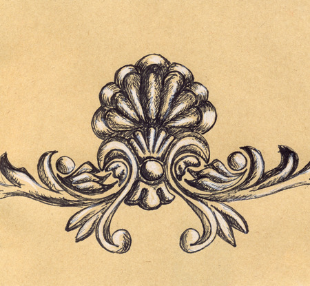 stucco: Vintage retro stucco floral decoration craft sketch.