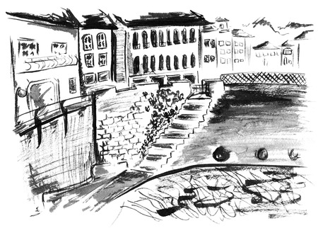 canal street: Monochrome black and white ink street canal landscape sketch.