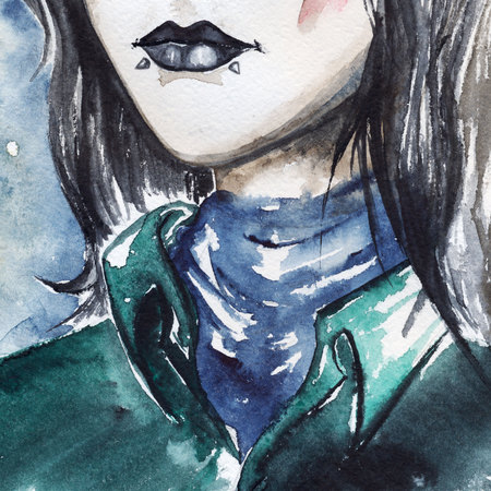 piercing: Gothic freak girl with black lips and piercing portrait.