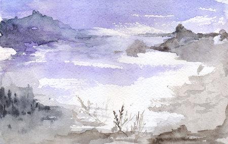 far away: Watercolor violet moon night lake mountains landscape. Stock Photo
