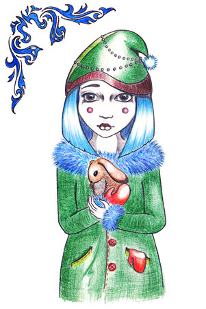 brown hare: Winter blue hairstyle girl in hat and coat with rabbit.