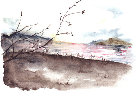 fog: Watercolor spring autumn tree river cost landscape. Stock Photo