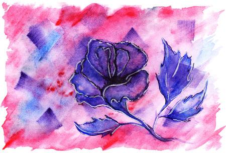 crimson: Watercolor violet crimson flower rose romantic love background.