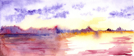 lake sunset: Watercolor purple sunset sunrise river lake landscape.