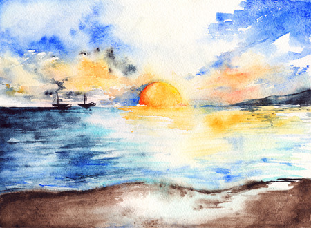 ocean sunset: Watercolor sea ocean sunset bright ships landscape. Stock Photo