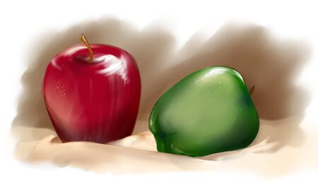 digital art: Red and green apples on cream tablecloth.