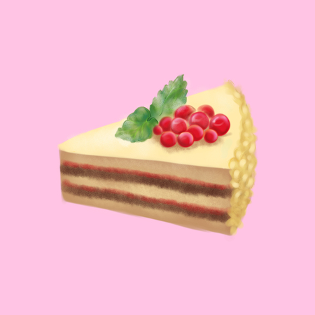 red currant: Digital art dessert sweet cake red currant berries mint leaves.