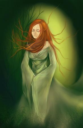 red hair: Ginger girl green dress wood forest digital art. Stock Photo