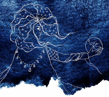 astrologer: Watercolor line art astrologer navy blue night sketch. Stock Photo