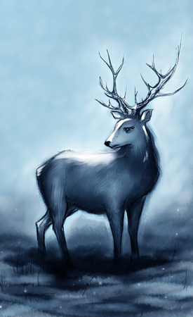 snow forest: Winter snow forest navy deer with big horns.