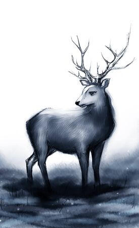 snow forest: Winter snow forest monochrome navy deer with big horns.