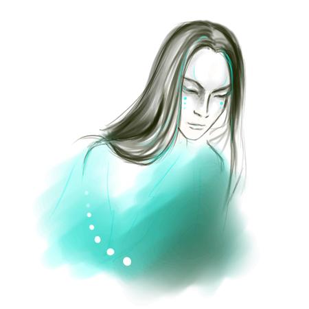 Giovane uomo asiatico con i capelli lunghi calma su sfondo turchese vettore.