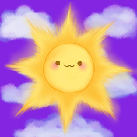 sun background: Cute cartoon smiling sun clouds sky kawaii anime manga vector. Illustration