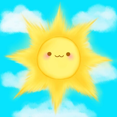 anime: Cute cartoon smiling sun clouds sky kawaii anime manga.
