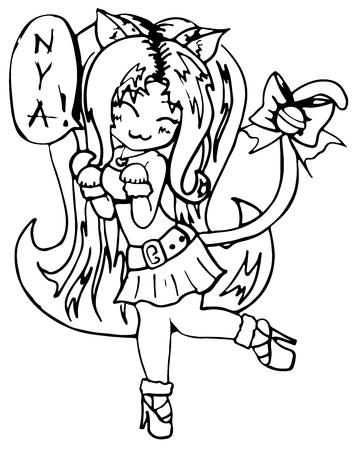 manga: Monochrome cat girl anime manga kawaii cartoon vector isolated. Illustration