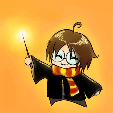 harry: Cartoon boy in wizard costume anime manga chibi kawaii vector.