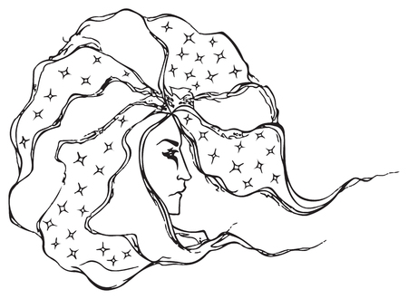 man long hair: Monochrome black and white astrologer wizard man vector line art