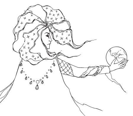 astrologer: Monochrome black and white astrologer wizard man vector line art. Illustration
