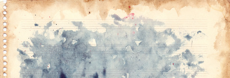 notes paper: Vintage retro watercolor music sheet background texture grunge. Stock Photo