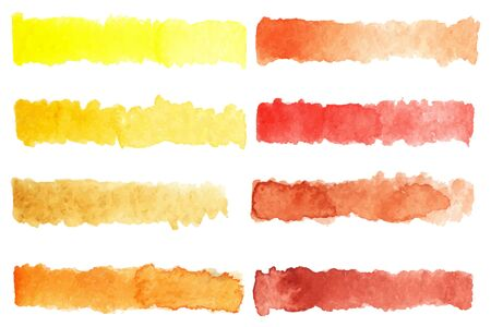 Watercolor stripe brush colorful rainbow palette vector background. Çizim