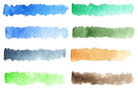 rainbow stripe: Watercolor stripe brush colorful rainbow palette vector background. Illustration