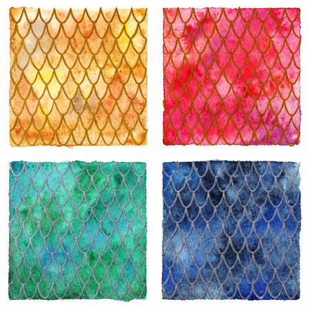 four texture: Dragon skin scales pattern texture background four colors set.