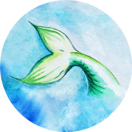 fish tail: Watercolor mermaid fish tail vector circle isolated. Illustration