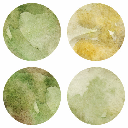 green brown: Watercolor marble green texture circle vector isolated.